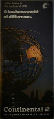 Continental Airlines System Timetable June 14, 1991