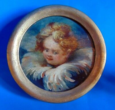 MAGNIFICENT  small antique  Painting 1900 Putti angel medaillon   signed