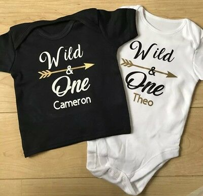Boys Personalised 1st Birthday Top TShirt Outfit Wild One Black Gift Cake Smash