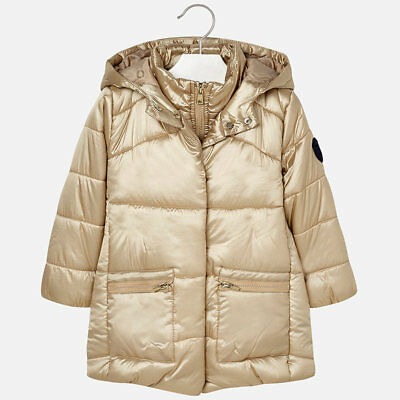 Mayoral Girls Padded Jacket -Coat with Hood In Champagne (4429) Aged 2-8