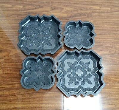 Set Of 4 Concrete Interlocking Paving Garden Slab Floor Tile Mould Free Uk P&p