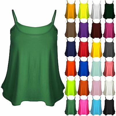 Plus Size Ladies Womens Plain Cami Sleeveless Strappy Flared Tank Swing Vest Top