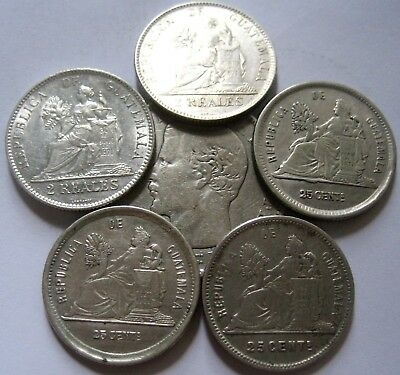 GREAT GUATEMALA LOT of 6  SILVER COINS START 1 $ : HIGH GRADE with RARITIES