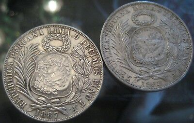 RARE GUATEMALA COINS START 1 $ 1 SOL 1887 and 1893  VENEZUELA  Counter-stamped