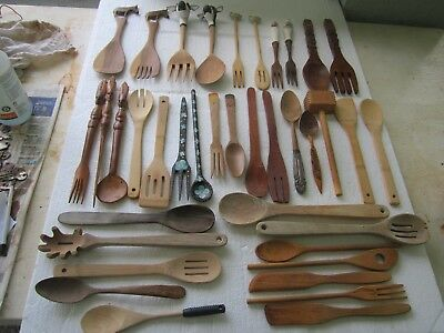 38 vintage Country Kitchen Wooden Handle Wood Spoons Forks Paddles Mallet