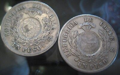 GREAT GUATEMALA COINS START 1 $ :1 PESO CHILE 1884-1886 Counter-stamped coinage