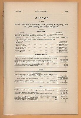 1882 PENNSYLVANIA Rr report SOUTH MOUNTAIN RAILWAY & MINING COMPANY Calisle PA