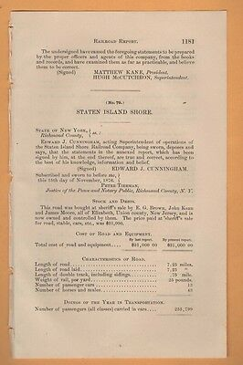 1876 RARE paper document STATEN ISLAND SHORE RAILROAD Horse and mule trolley NY