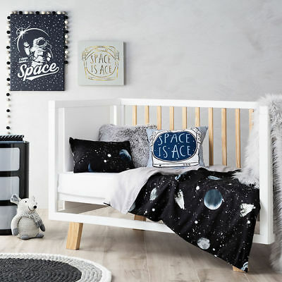 New Adairs Kids Intergalactic Space Theme Cot Quilt Cover Set Rrp$109.99
