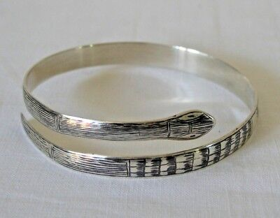 Early Iraq Middle East Silver and Niello Snake Bangle / Bracelet - Lovely !