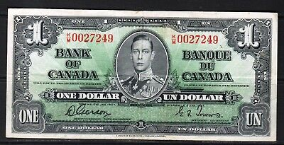"Canada - 1937 Bank of Canada 1 Dollar note P58d/BC-21d VF++ ""King George VI"""