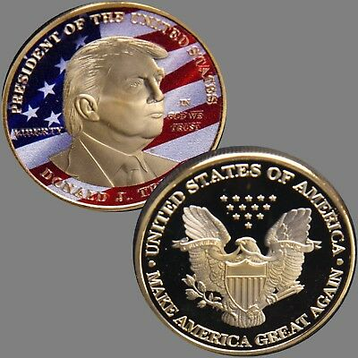 USA Präsident Donald Trump Gold  Plated Gedenkmünze / Medaille
