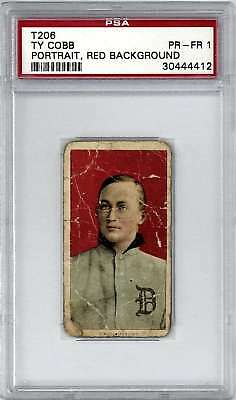 1909-11 T206 TY COBB - Red Background - Rare Polar Bear Back - PSA 1 PR-FR