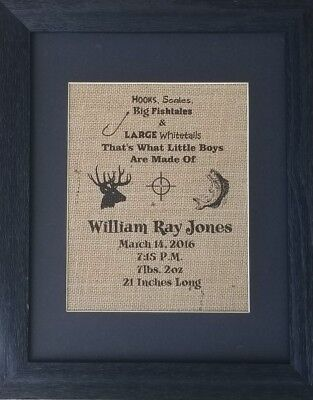 Burlap print ONLY, baby boy gift, baby shower gift, birth announcement, new baby