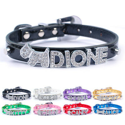 Bling Rhinestone Personalised Puppy Dog Collars Customized FREE Name Charms