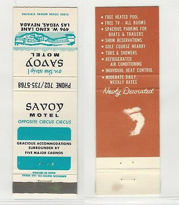 Savoy Motel, Las Vegas, Vintage Matchbook Cover, On The Strip Iconic