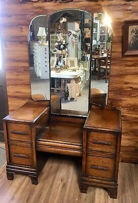 Solid Oak Deco triple mirror dressing table With Five Drawers
