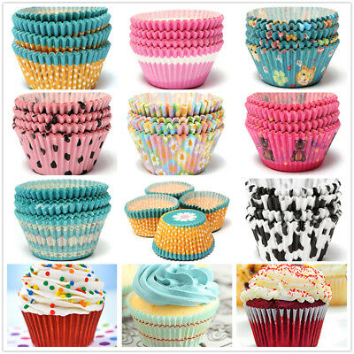 100pcs Round Shape Cupcake Liner Baking Muffin Liner Box Colorful Paper Cup Mold