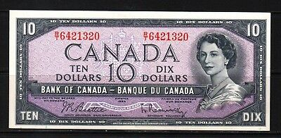 Canada - 1954 Bank of Canada 10 Dollar note P79b/BC-40b  aUNC/UNC Condition QEll