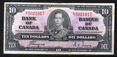 "Canada - 1937 Bank of Canada 10 Dollar Banknote P61c/BC-24c F ""KIng George VI"""