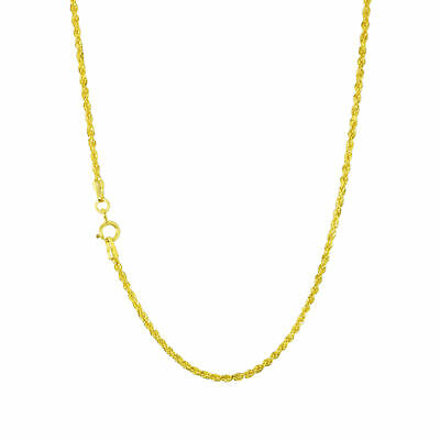 Genuine 14K Yellow Gold Diamond Cut Womens 1.8mm Rope Chain Pendant Necklace 18""