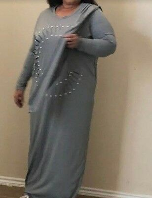 Sweat gray long sleeve long dress with beaded design and small scarf..