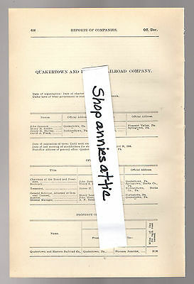 1900 PENNSYLVANIA RR report QUAKERTOWN AND EASTERN RAILROAD Furnace Jct PA train