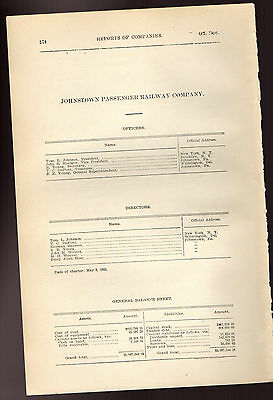 1900 Pennsylvania RR report JOHNSTOWN PASSANGER RAILWAY electric trolley PA