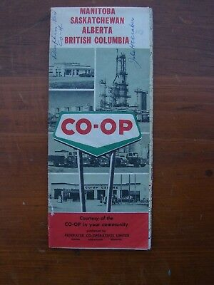 Canada, Manitoba, Sakdatchewan, Alberta, BC Co-Op Gas Stations, Fuel  Map 1960s?
