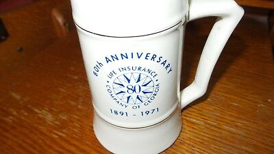 Life Insurance Of Georgia Large Mug Anniversary 1891 To 1971 47 Years Old Wowow!