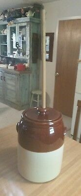 Vintage McCoy Stoneware Butter Churn Crock with Lid and Dasher *Mint*