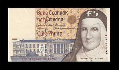 22.10.1996 Central Bank Of Ireland 5 Pounds (( Ef+ ))