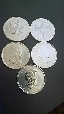 5 pièces argent Canada 1 once 999/1000 5$ Mapple Leaf 2011 ( 155,5 grs argent )