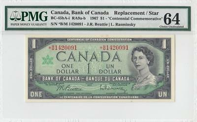 1967 Bank Of Canada Qeii $1 **star Note** (( Pmg 64 ))