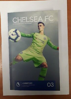 Chelsea Vs Cardiff City unread mint matchday programme with team sheet   150918