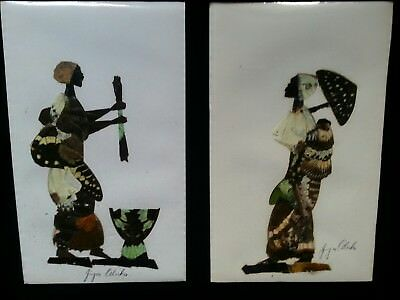 Real butterfly Collage pictures African women& child SIGNED jija Oduka vintage