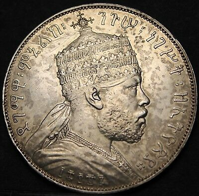 Ethiopia EE-1887A (1894) Birr~Large Silver~High Grade~Lion~Free Shipping