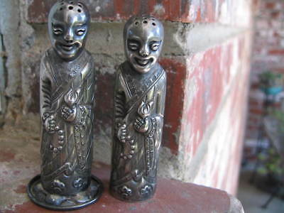 Asian Chinese Japanese Hallmarked  Sterling Salt and Pepper Shakers