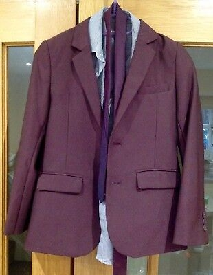 Boys John Rocha Maroon Two Piece Suit With Matching Tie and Shirt