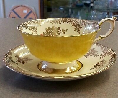 1930's Paragon Tea Cup & Saucer Yellow, Gold Floral & Filigree DBL Warrant
