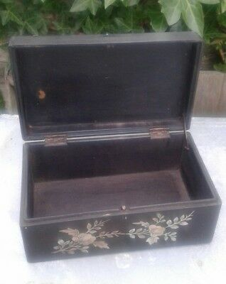 Antique  19Th Century  Chinese Huanghuali  Timber Inlaid Mother Of Pearl Box