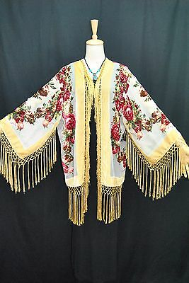 Classic Art to Baby Golden Kimono Fringe Jacket Burnout Velvet Coat Duster short