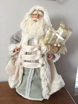 """Elegant  Large 20"""" Hand Painted Amazing Father Time Santa Clause Tree Topper"""