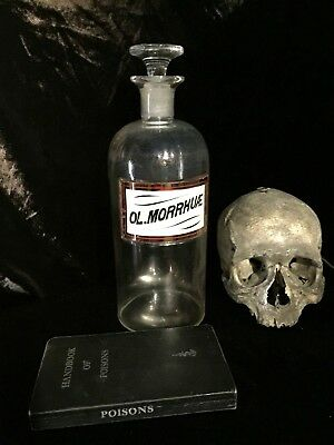Antique Apothecary Bottle Label under Glass Tall 19th C Pharmacy Display Jar