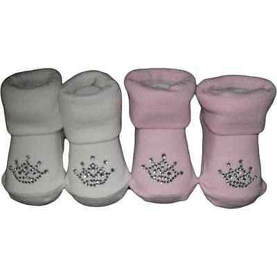 Cute Princess Crown Baby Socks 0-6 Months Pink Or White