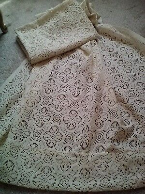 Pair Of Vintage Beige Floral Thick Mesh Lace Window Panels-48X62    Pretty