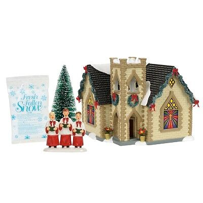 "Dept 56 Snow Village ""GOLDEN CROSS CHURCH"" BOXED SET NIB 2017 FREE SHIP"