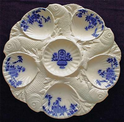 Antique Minton Oyster Plate, English, Delft Pattern, Fish Dividing Wells