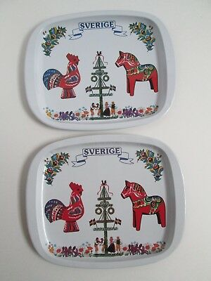 """Two Vintage Swedish 5"""" By 7"""" Tins, Trays, With Dala Horse and Rooster, Dancers"""