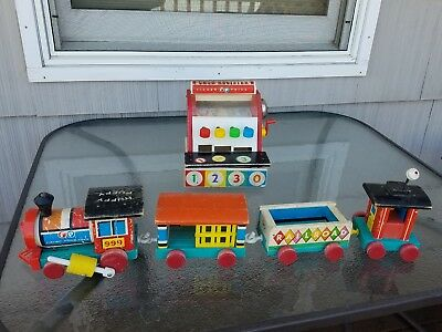 """Fisher Price Wooden Toys: Cash Register & """"Huffy Puffy"""" Pull Train & Cars 1960's"""